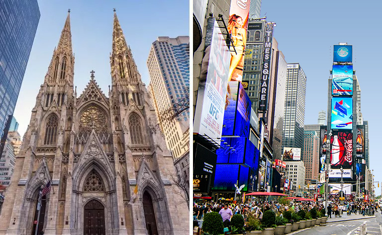 Times Square Saint Patricks Cathedral New York tour